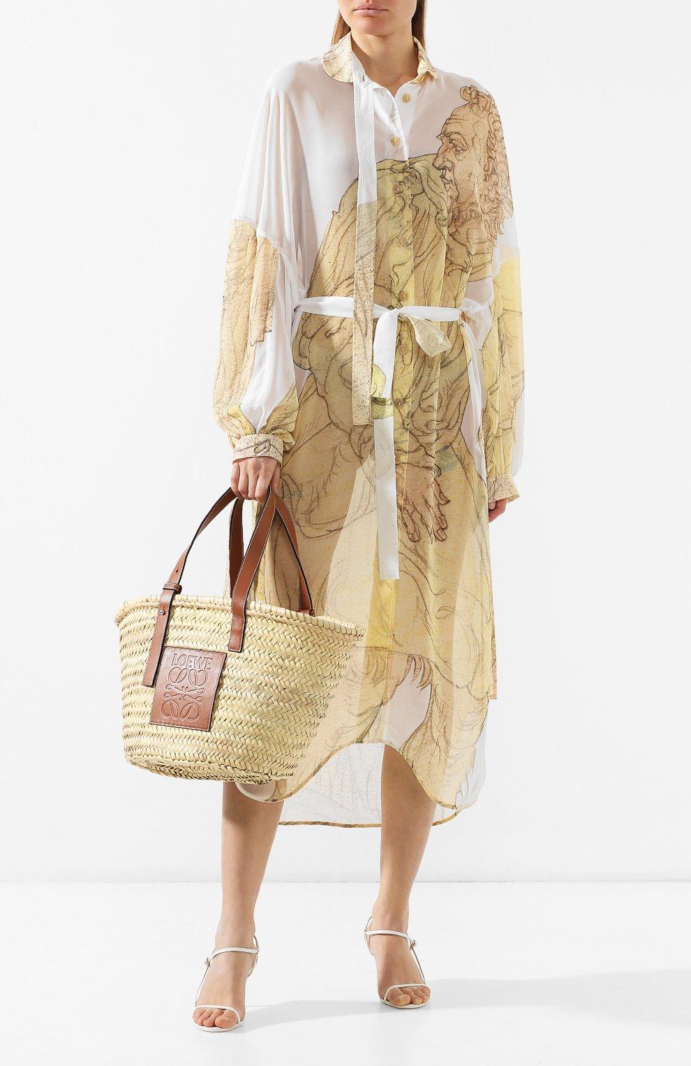 Женская сумка basket LOEWE бежевого цвета, арт. 327.02.S92 | Фото 2