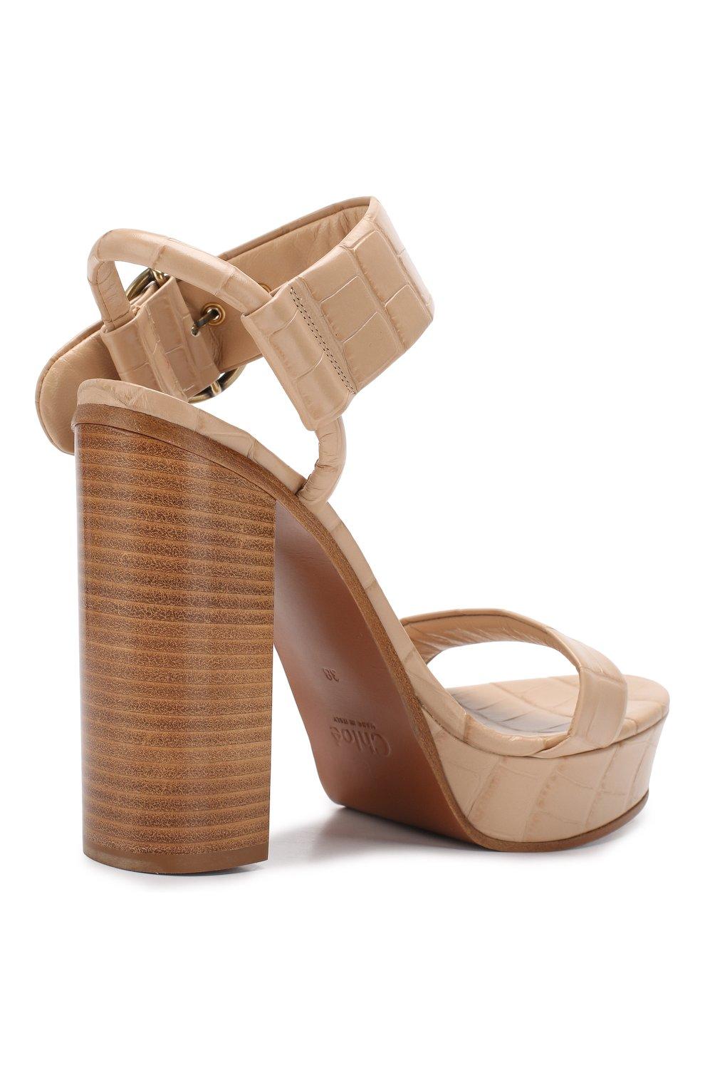 08d836332c7d Женские бежевые кожаные босоножки wave CHLOÉ — купить за 48500 руб ...