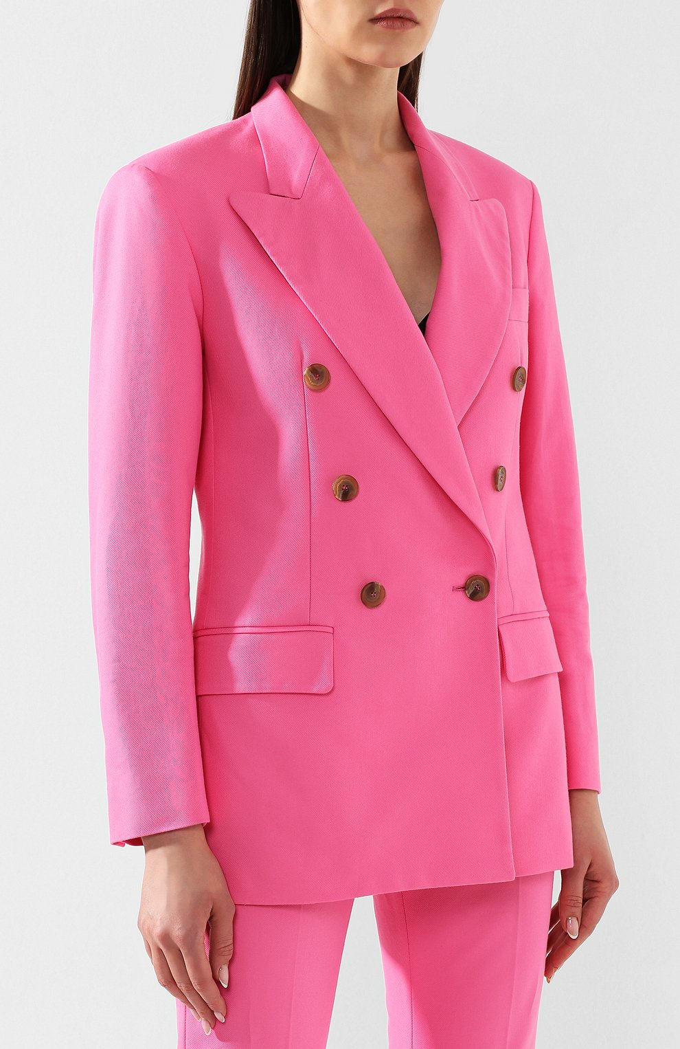 Хлопковый жакет MSGM розовый | Фото №3
