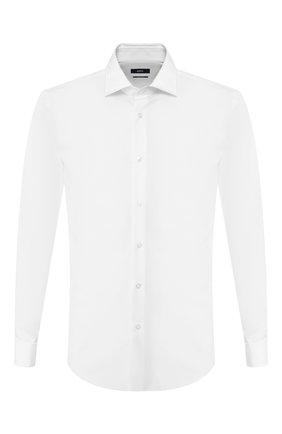 Мужская хлопковая рубашка с воротником кент BOSS белого цвета, арт. 50404781 | Фото 1