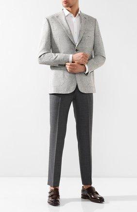 Мужская хлопковая рубашка с воротником кент BOSS белого цвета, арт. 50404781 | Фото 2