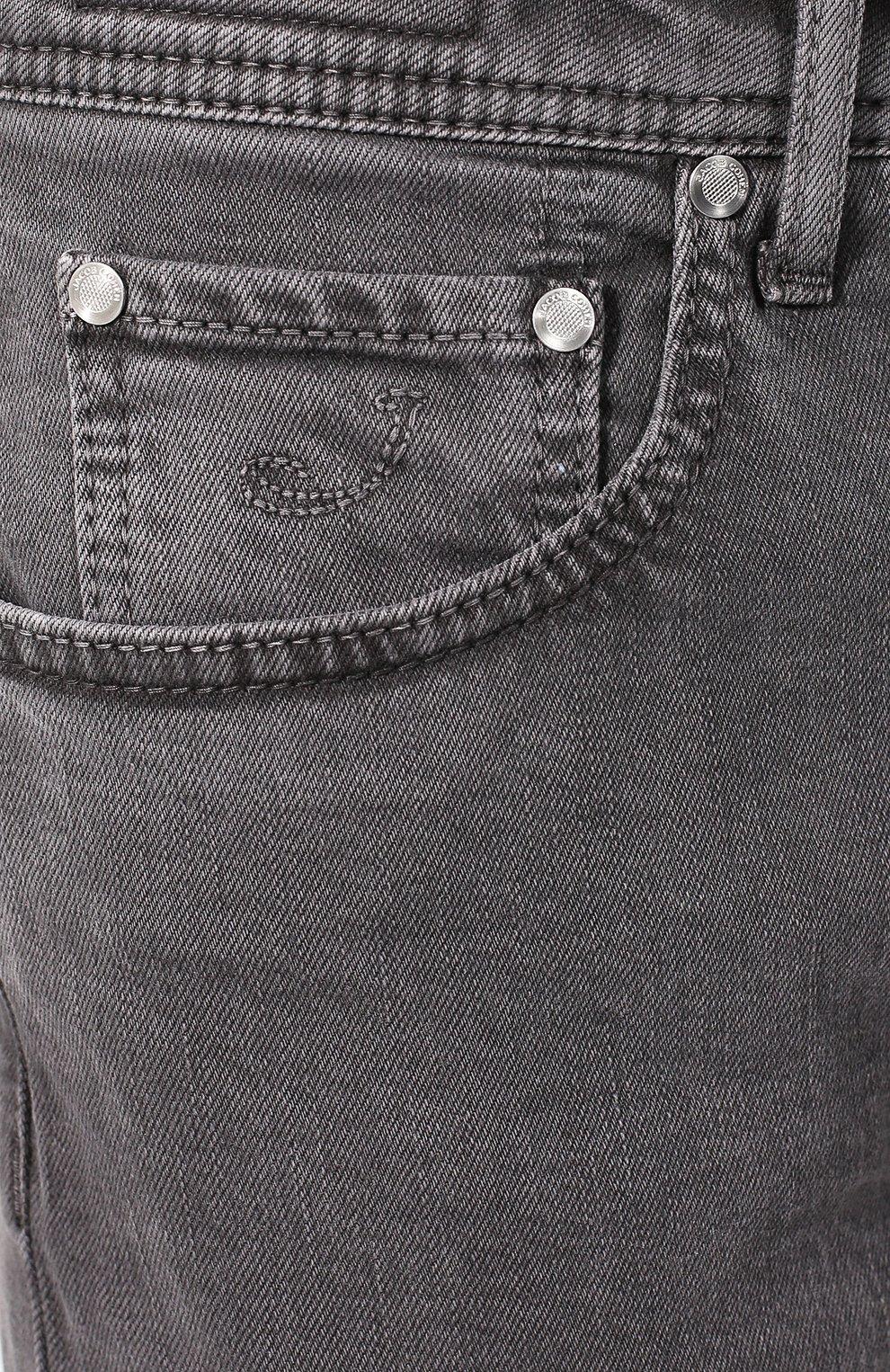 Джинсы прямого кроя Jacob Cohen серые | Фото №5