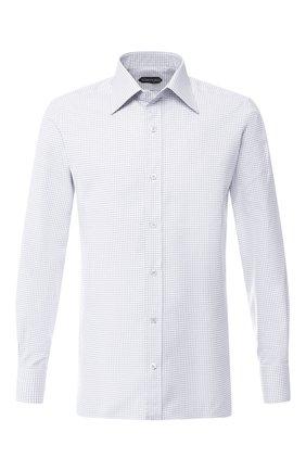 Мужская хлопковая рубашка с воротником кент TOM FORD светло-серого цвета, арт. 5FT602/94S1JE | Фото 1