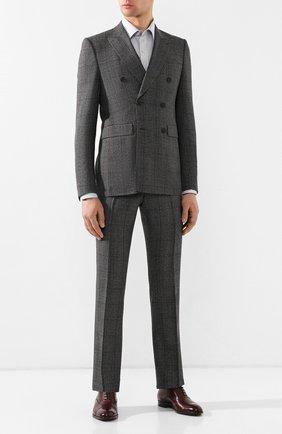 Мужская хлопковая рубашка с воротником кент TOM FORD светло-серого цвета, арт. 5FT602/94S1JE | Фото 2