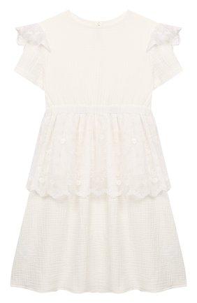 Детское хлопковое платье PAADE MODE белого цвета, арт. 92080/10Y-16Y | Фото 1