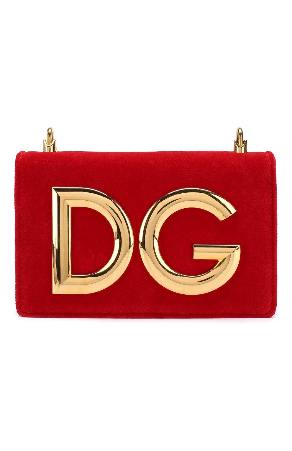Сумка DG Girls из бархата Dolce & Gabbana красная цвета | Фото №1