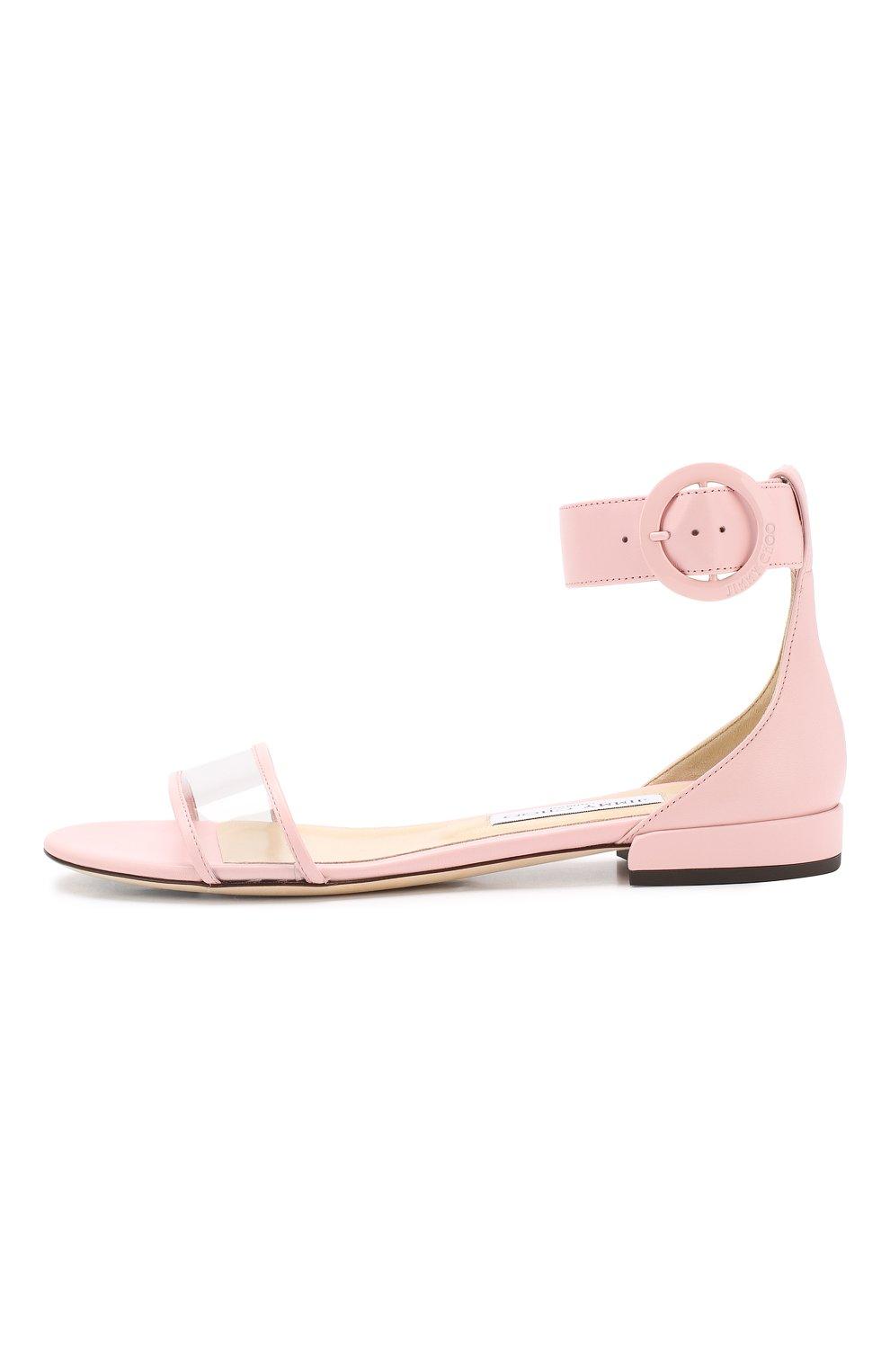Кожаные сандалии Jamie  Jimmy Choo светло-розовые | Фото №3