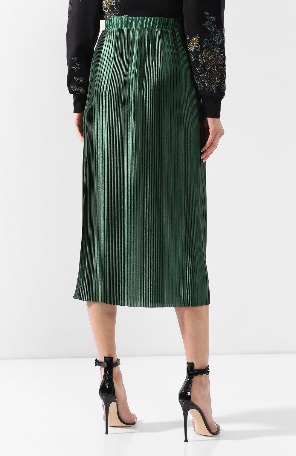 Плиссированная юбка Givenchy зеленая | Фото №4