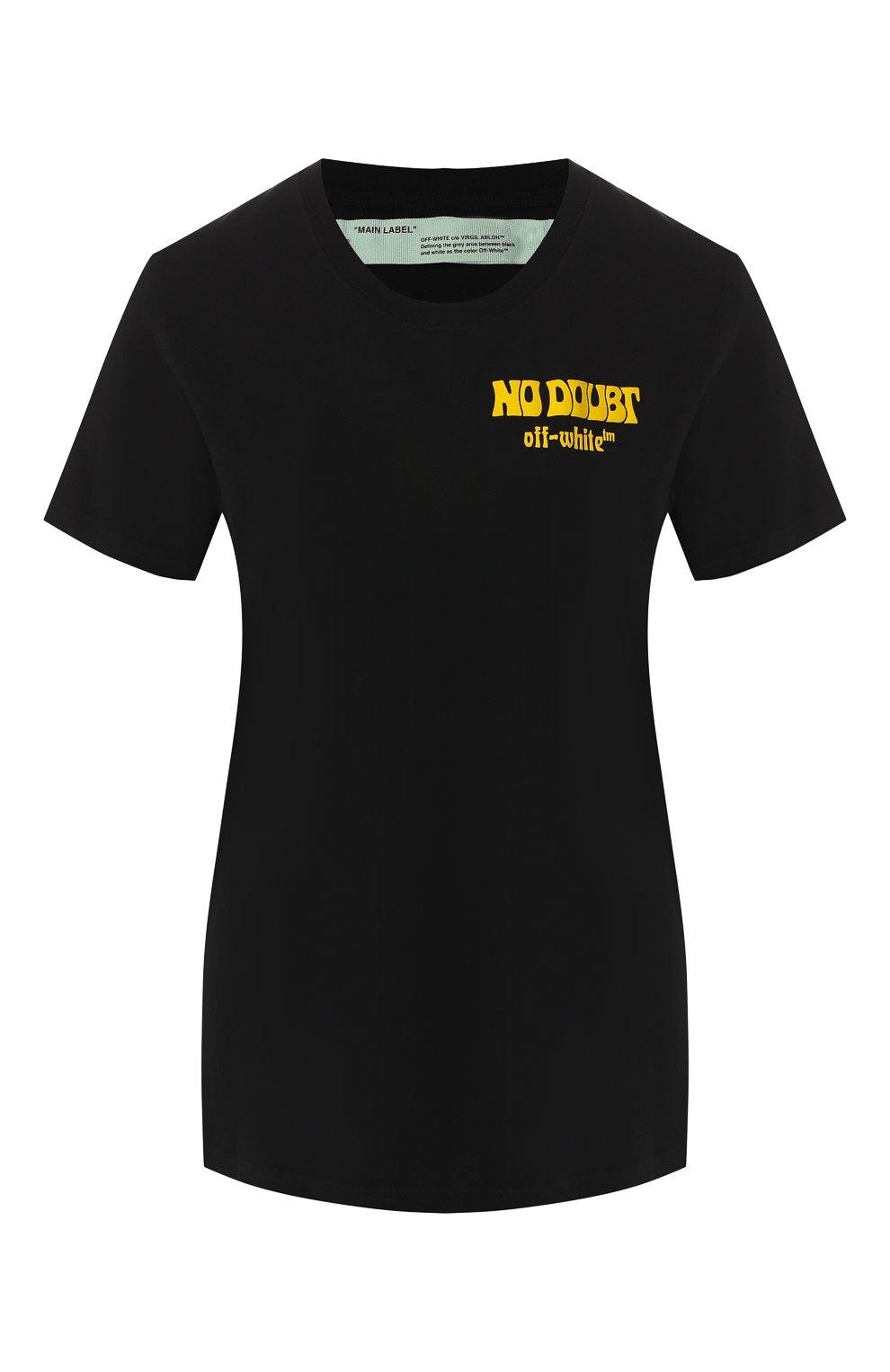 152b8374ed91b Женская черная хлопковая футболка OFF-WHITE — купить за 18250 руб. в ...