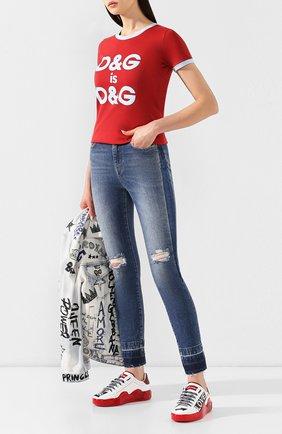Женская хлопковая футболка DOLCE & GABBANA красного цвета, арт. F8H32Z/G7RDG | Фото 2