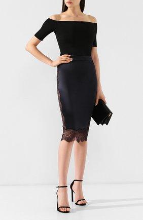 Женская шелковая юбка TOM FORD черного цвета, арт. GC5401-FAX334 | Фото 2 (Статус проверки: Проверено, Проверена категория; Длина Ж (юбки, платья, шорты): Миди; Материал внешний: Шелк)