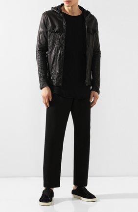 Мужская кожаная куртка GIORGIO BRATO черного цвета, арт. GU19S9016V   Фото 2 (Длина (верхняя одежда): Короткие; Рукава: Длинные; Статус проверки: Проверено; Мужское Кросс-КТ: Кожа и замша, Верхняя одежда, Куртка-верхняя одежда; Кросс-КТ: Куртка)