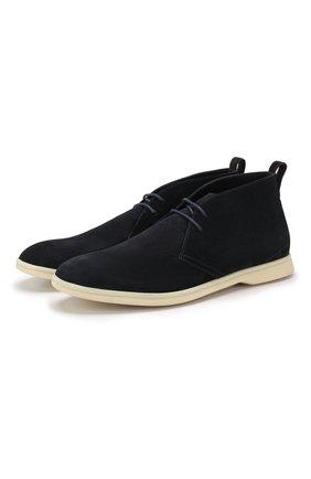 Мужские замшевые ботинки softey walk LORO PIANA темно-синего цвета, арт. FAI4940 | Фото 1