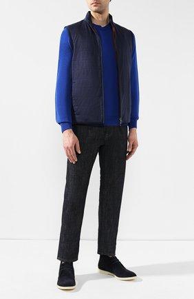 Мужские замшевые ботинки softey walk LORO PIANA темно-синего цвета, арт. FAI4940 | Фото 2