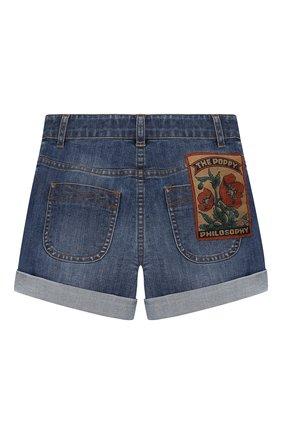 Детские джинсовые шорты PHILOSOPHY DI LORENZO SERAFINI KIDS синего цвета, арт. PJBE01/CE50/THUNI/L-XL   Фото 2