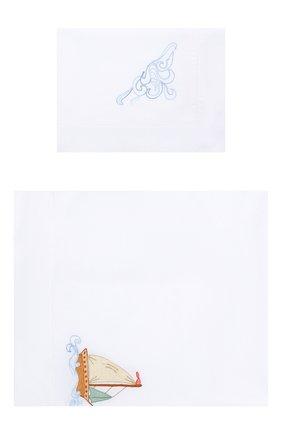 Детского комплект из хлопковой простыни и наволочки LORETTA CAPONI белого цвета, арт. 191K20358300701 | Фото 1
