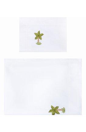 Детского комплект из хлопковой простыни и наволочки LORETTA CAPONI белого цвета, арт. 191K20318300701 | Фото 1
