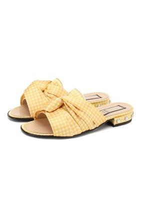 Детский текстильные шлепанцы N21 желтого цвета, арт. 59551/28-35 | Фото 1