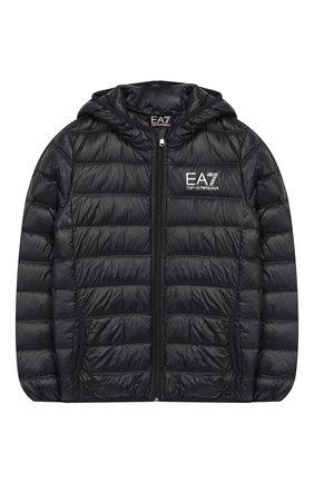 Детского пуховая куртка с капюшоном EA 7 черного цвета, арт. 8NBB34/BN29Z | Фото 1