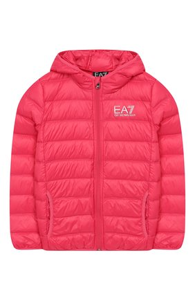 Детского пуховая куртка с капюшоном EA 7 розового цвета, арт. 8NBB34/BN29Z | Фото 1