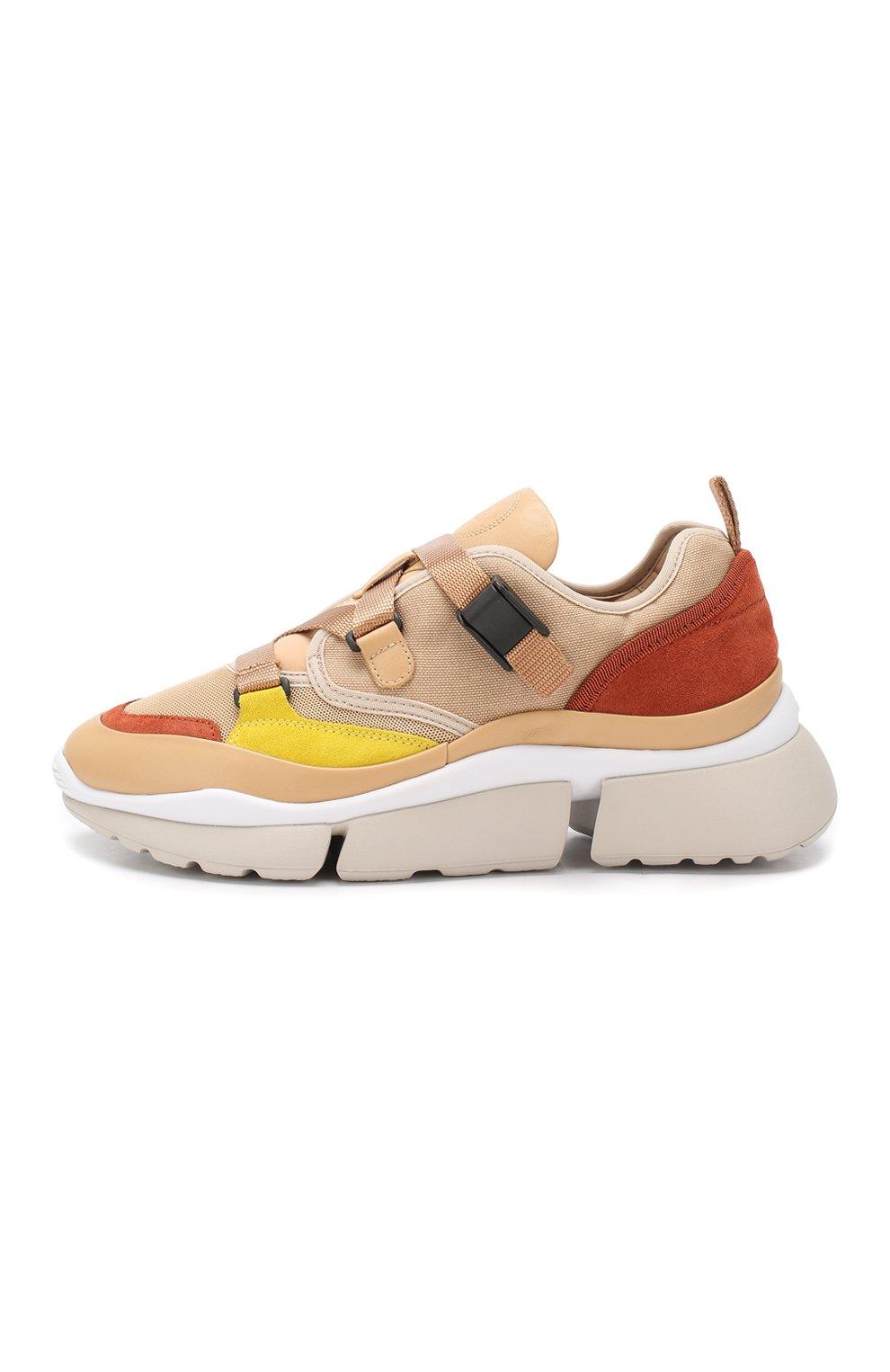 Комбинированные кроссовки Sonnie Chloé бежевые | Фото №3
