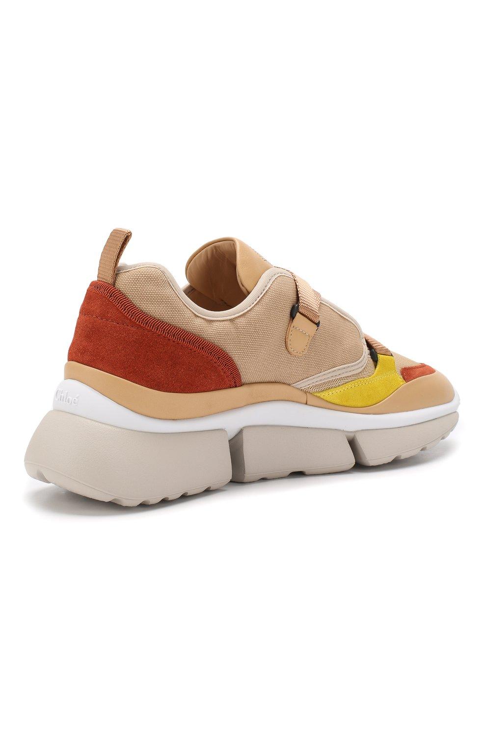 Комбинированные кроссовки Sonnie Chloé бежевые | Фото №4