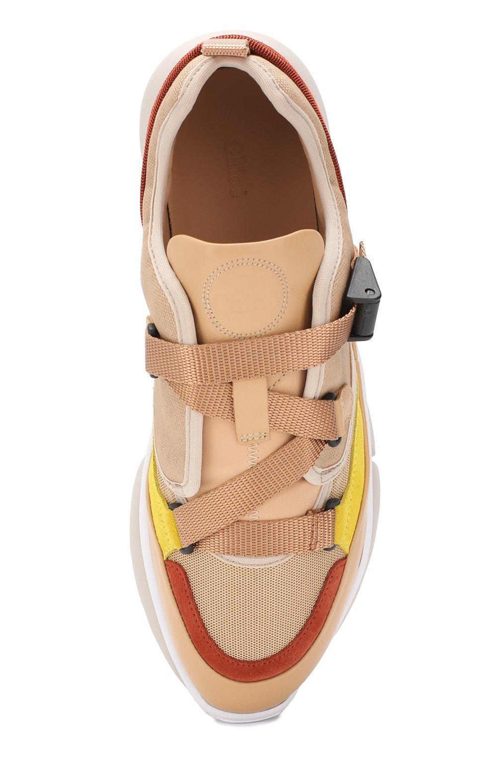 Комбинированные кроссовки Sonnie Chloé бежевые | Фото №5