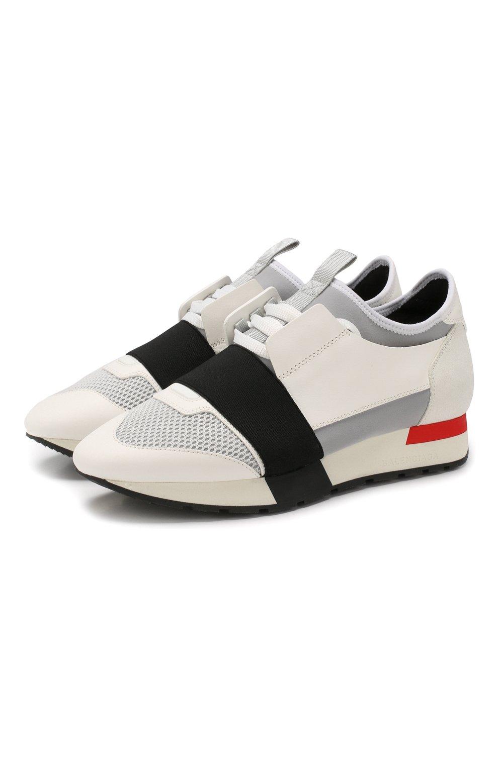 Комбинированные кроссовки Race Balenciaga белые | Фото №1