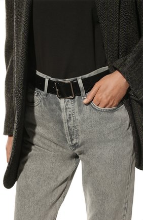 Женский кожаный ремень ALEXANDER MCQUEEN черного цвета, арт. 558449/1AC0Y | Фото 2 (Статус проверки: Проверена категория)