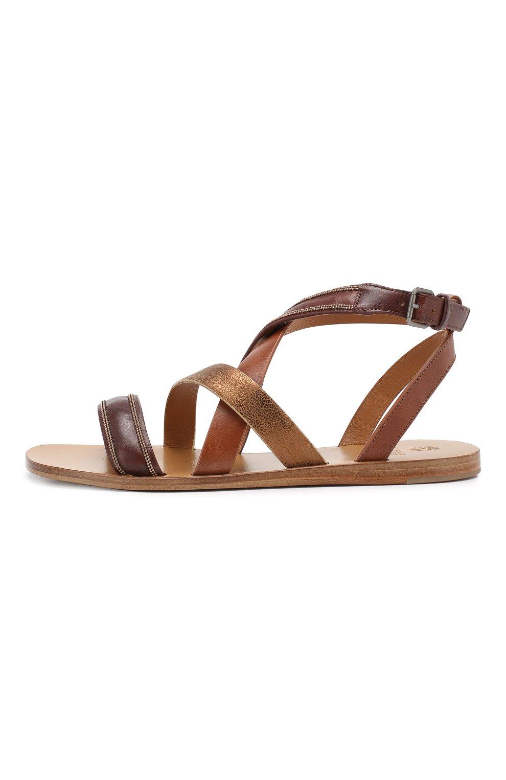 Кожаные сандалии Brunello Cucinelli коричневые | Фото №3