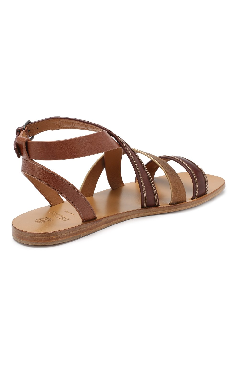 Кожаные сандалии Brunello Cucinelli коричневые | Фото №4