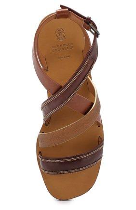 Кожаные сандалии Brunello Cucinelli коричневые | Фото №5