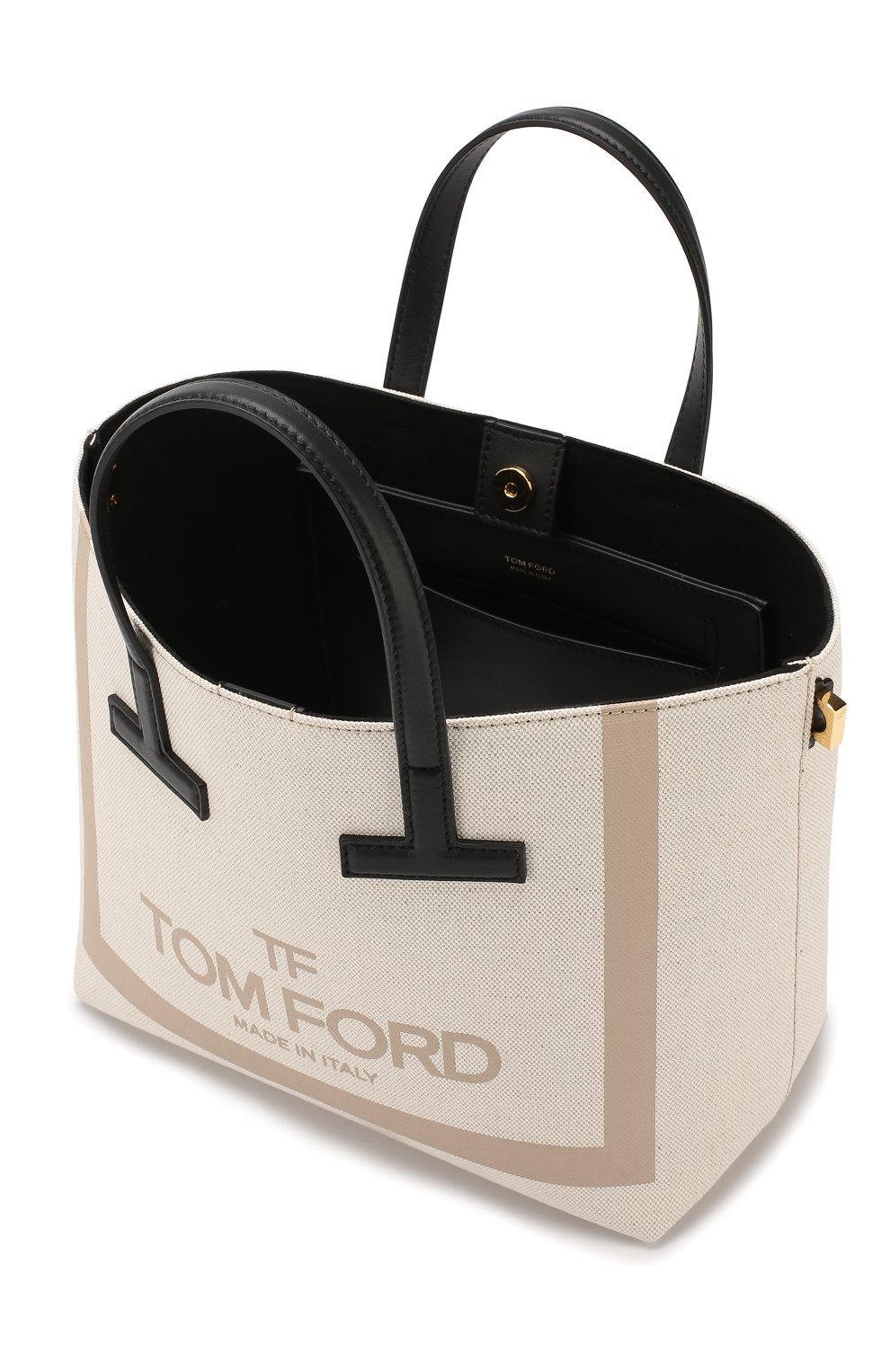 Сумка T Tote mini Tom Ford кремовая цвета | Фото №4