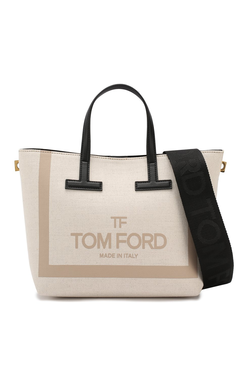 Сумка T Tote mini Tom Ford кремовая цвета | Фото №6