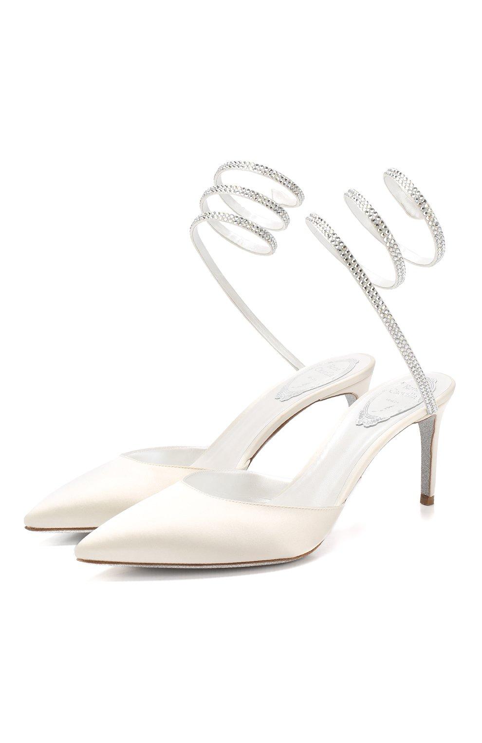 Текстильные туфли Cleo Rene Caovilla белые | Фото №1