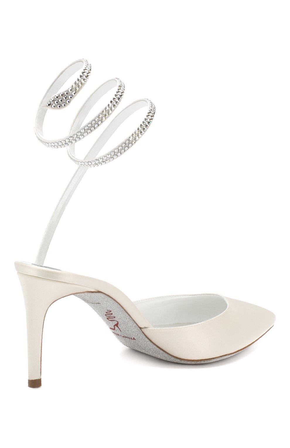 Текстильные туфли Cleo Rene Caovilla белые | Фото №4