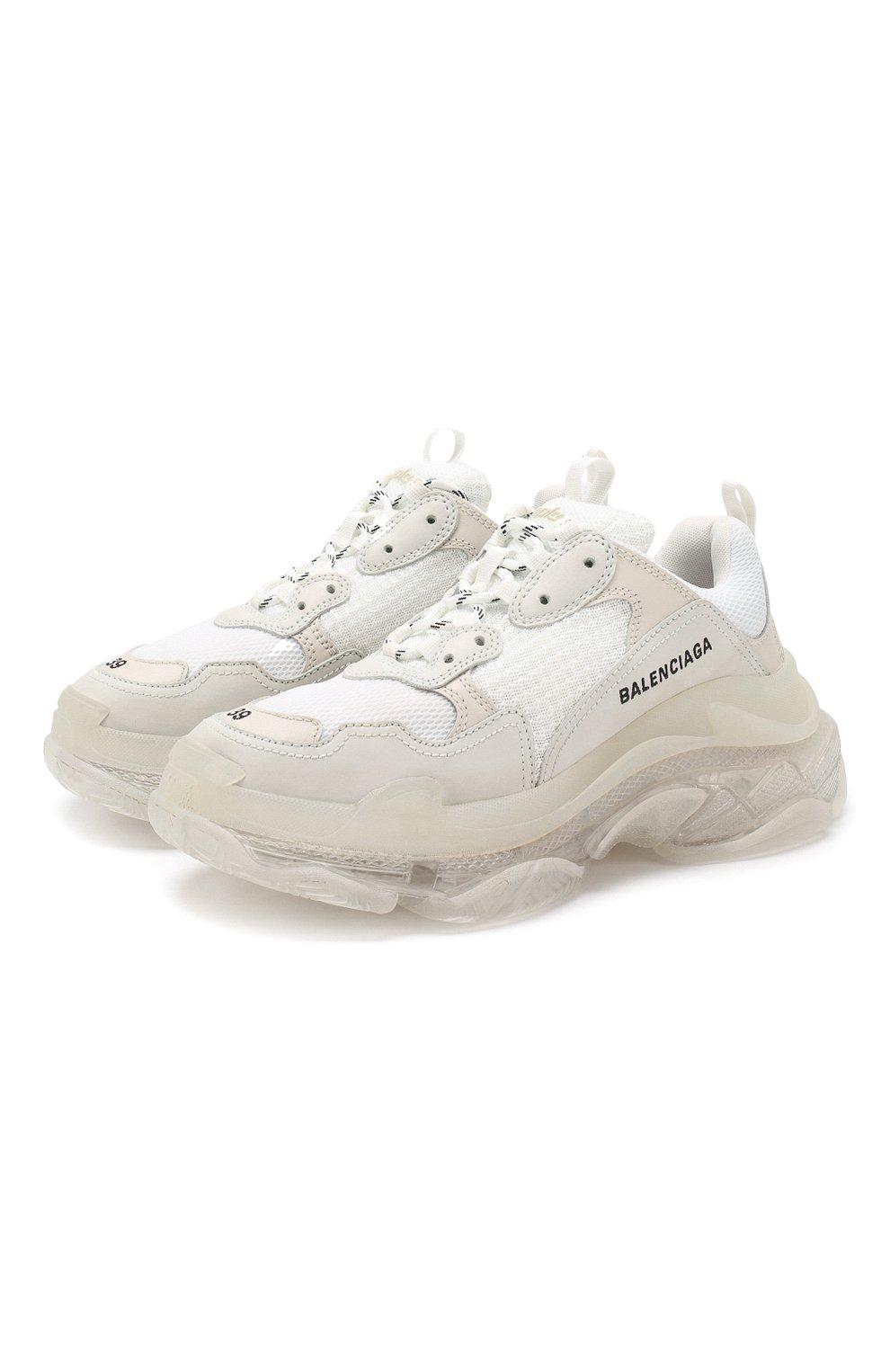 Комбинированные кроссовки Triple S Balenciaga белые   Фото №1