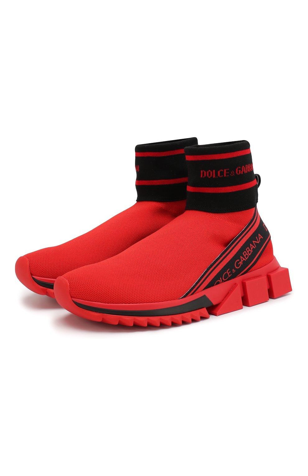 Текстильные кроссовки Sorrento Dolce & Gabbana красные | Фото №1
