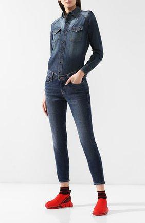Текстильные кроссовки Sorrento Dolce & Gabbana красные | Фото №2