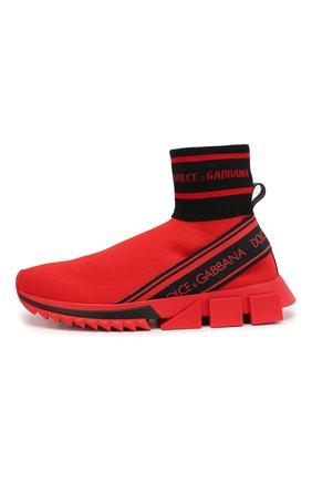 Текстильные кроссовки Sorrento Dolce & Gabbana красные | Фото №3