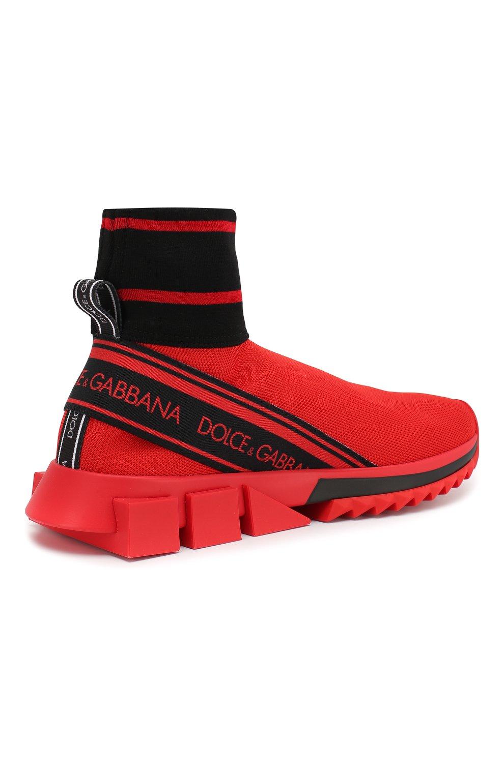 Текстильные кроссовки Sorrento Dolce & Gabbana красные | Фото №4