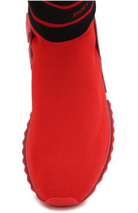 Текстильные кроссовки Sorrento Dolce & Gabbana красные | Фото №5