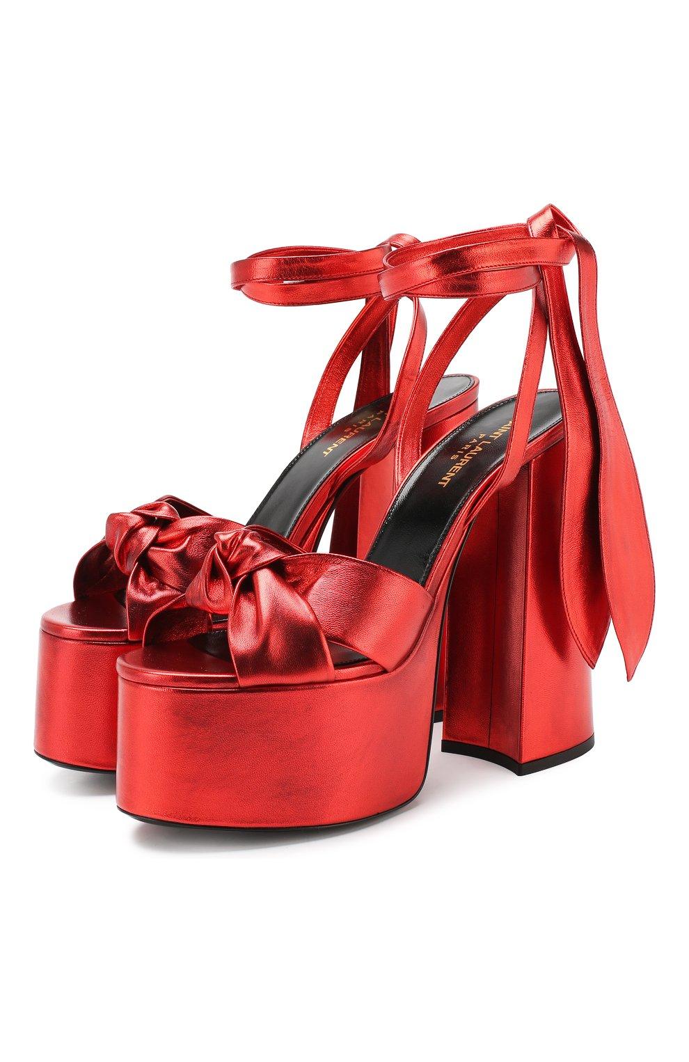 Кожаные босоножки Paige Saint Laurent красные | Фото №1