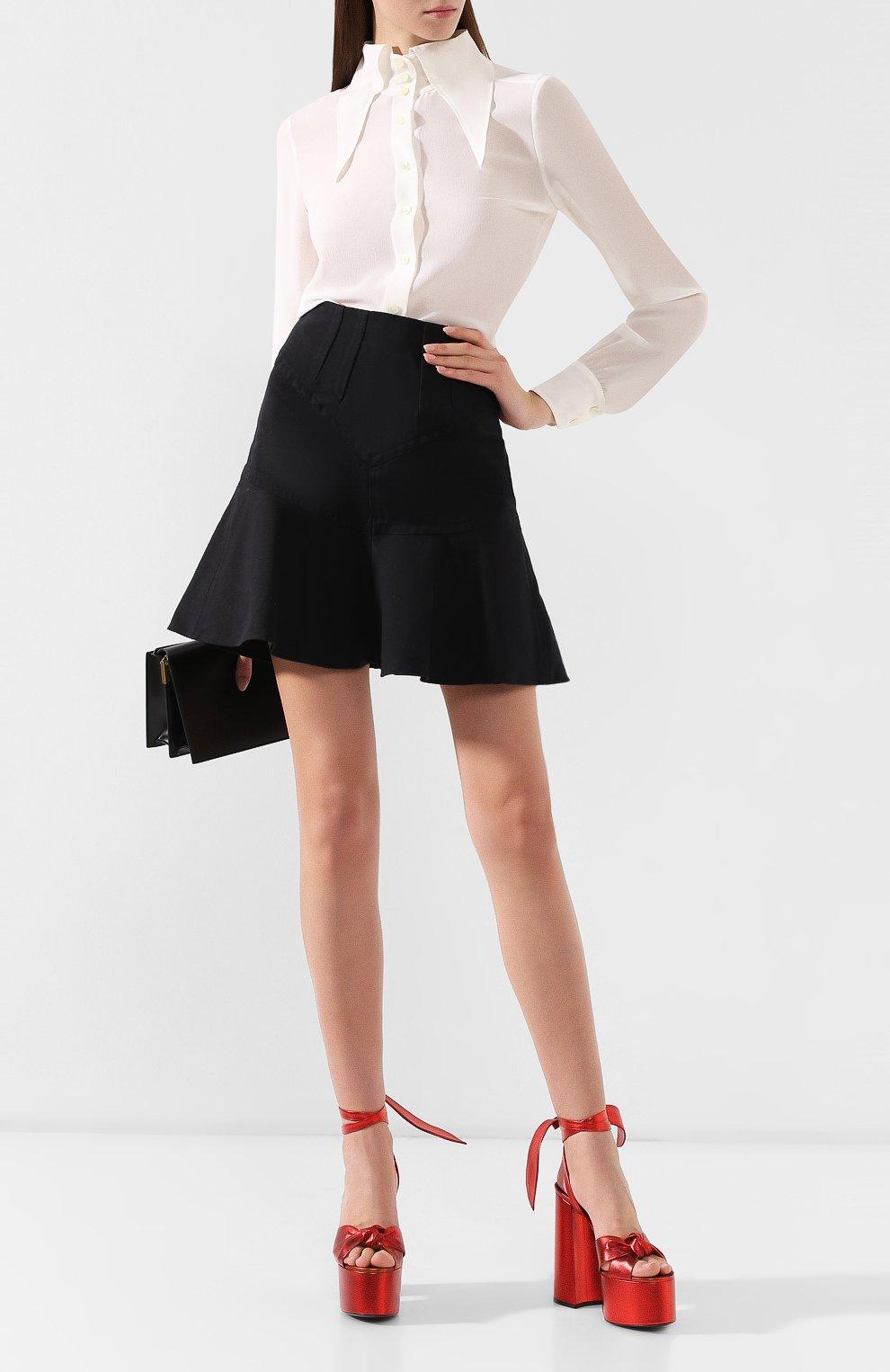 Кожаные босоножки Paige Saint Laurent красные | Фото №2