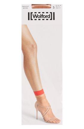 Женские носки twilight socks WOLFORD бежевого цвета, арт. 40519   Фото 1