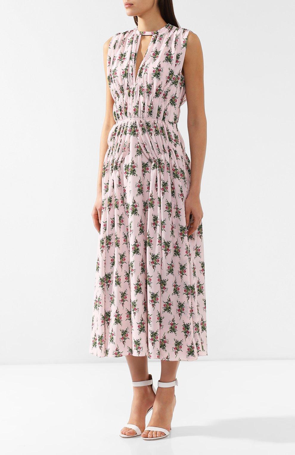 Платье с принтом Emilia Wickstead розовое   Фото №3