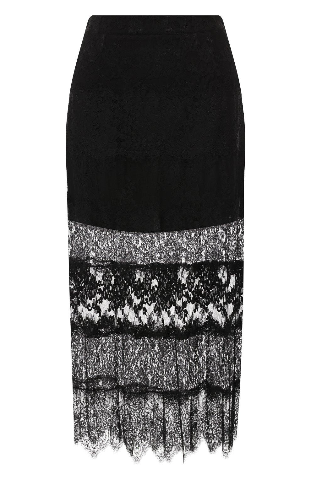 Женская юбка с кружевной отделкой MCQ SWALLOW черного цвета, арт. 545651/RMJ34   Фото 1 (Материал внешний: Синтетический материал; Длина Ж (юбки, платья, шорты): Миди; Статус проверки: Проверено, Проверена категория)
