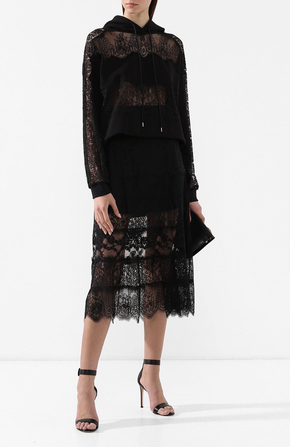 Женская юбка с кружевной отделкой MCQ SWALLOW черного цвета, арт. 545651/RMJ34   Фото 2 (Материал внешний: Синтетический материал; Длина Ж (юбки, платья, шорты): Миди; Статус проверки: Проверено, Проверена категория)