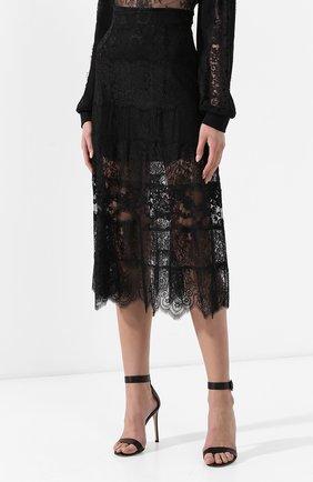Женская юбка с кружевной отделкой MCQ SWALLOW черного цвета, арт. 545651/RMJ34   Фото 3 (Материал внешний: Синтетический материал; Длина Ж (юбки, платья, шорты): Миди; Статус проверки: Проверено, Проверена категория)