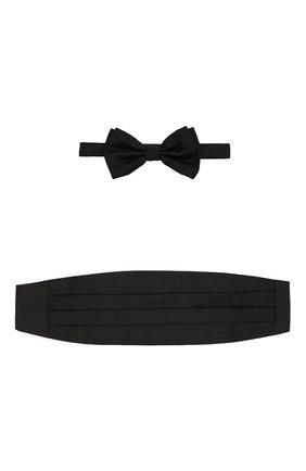 Мужской комплект из шелкового галстука-бабочки и камербанда BOSS черного цвета, арт. 50307920   Фото 1